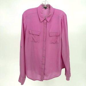 Ann Taylor Silk Top Women 10 Pink Thin Semi Sheer